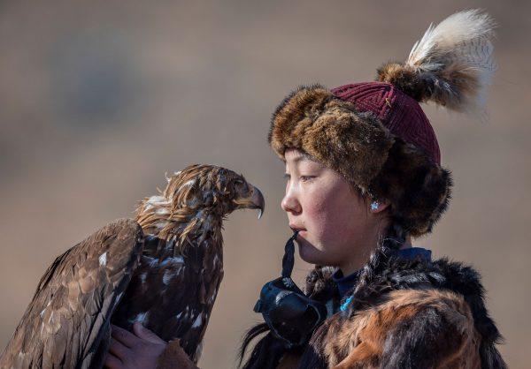 Fine Art Portrait of Eagle Huntress in Mongolia